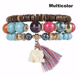 3 Bracelets of High Quality With Wood Beads, Elephant and Tassel - 3 Varieties