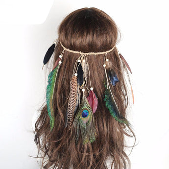 Bohemian Diadem With Multi-Drop Peacock Feathers