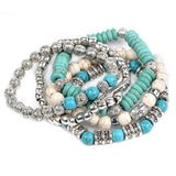 5 in 1 Bracelet Set - Blue and White Turquoise Beads With Antique Style Silver and Buddha and Feather Pendants