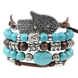 Hamsa Blue Bracelet - 5 Piece Set