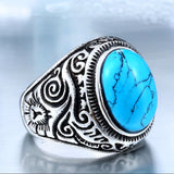 Stainless Steel Natural Oval Turquoise or Tourmaline Ring