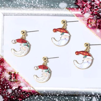 Newly Designed Santa Claus Drop Earrings In A Moon Shape