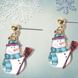 Newly Designed Handmade Snowmen Drop Enamel Earrings