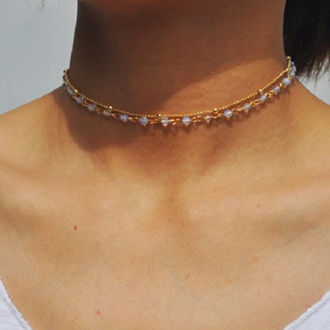 2 Layer Opal Choker Necklace / Choker