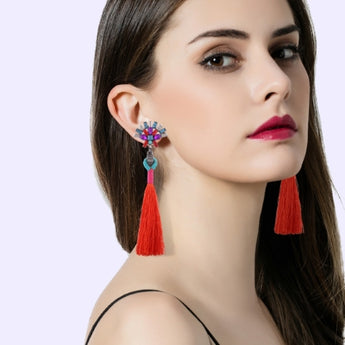 Playful Earrings With Long Tassels - Various Colors