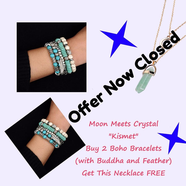 Special Offer - Get 2 5 in 1 Handmade Bracelet Sets And Receive A Moon and Crystal Necklace FREE