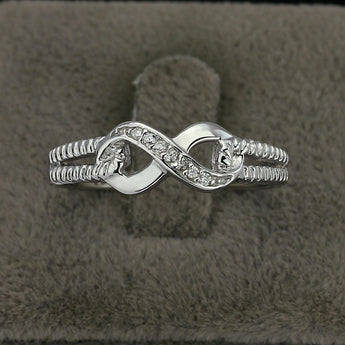 Infinity Ring - 925 Sterling Silver With Cubic Zirconias