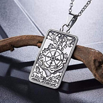Stainless Steel 316L 'Wheel  of Fortune' Tarot Card Pendant With Free Necklace