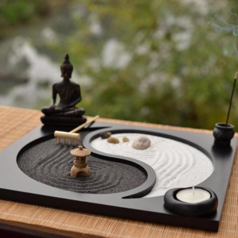 ZEN TAO Garden, Incense and Candle Holders, Buddha, Yoga,, Rake, Stones