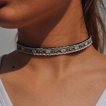 Leather Boho Choker Necklace