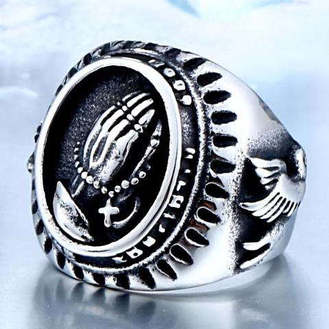 Hand Of God and Bird Of Peace 316L Stainless Titanium Steel Ring