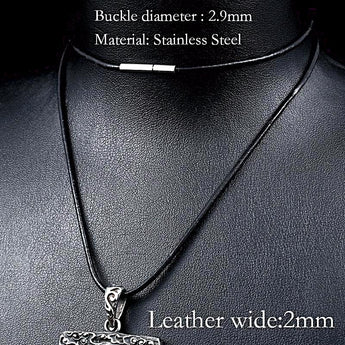 Leather Cord And Stainless Steel Necklace