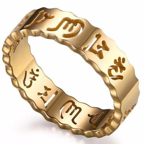Om Mani Padme Hum Mantra  - Gold Plated Stainless Steel Ring