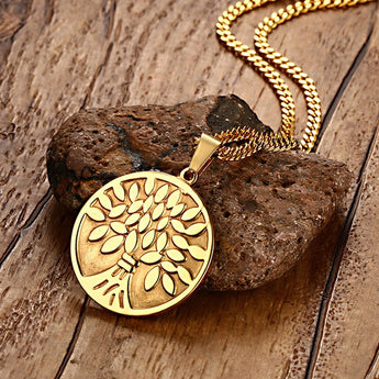 Tree of Life Classic Style Necklace - Gold Plated Stainless Steel - Unisex