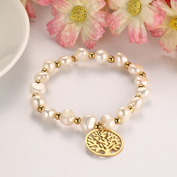 Tree of Life Freshwater Pearl & Stainless Steel Bracelet