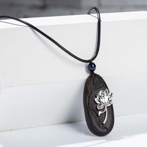 Lotus Flower On Wood Necklace With Long Leather Chain