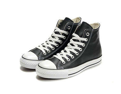 a1468b9bff02 Converse Black Leather Chuck Taylor Sneakers Trainer ALL STAR HI 1Q547