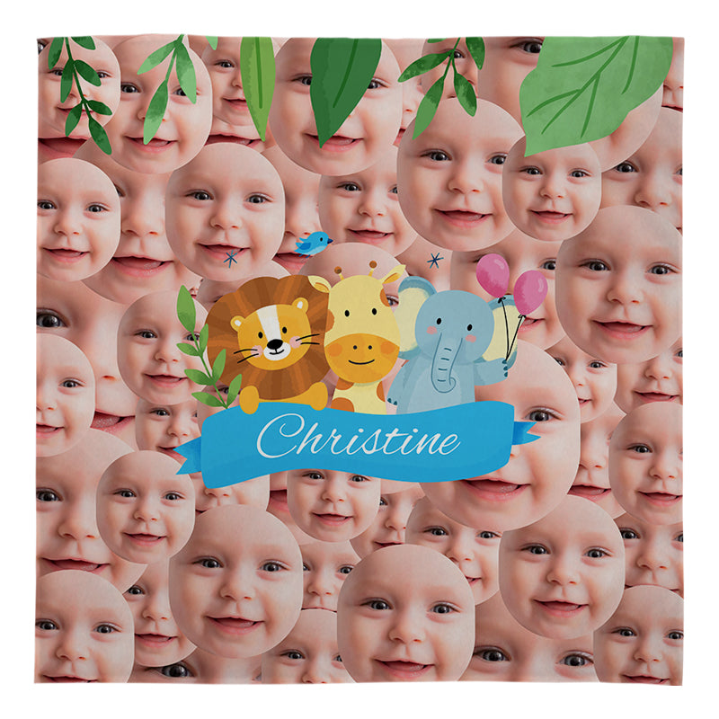 Fleece Blanket - Jungle Animals - Faces All Over