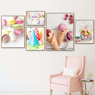 Ice Cream Cake Wall Art Canvas Painting Posters - Purple Cow Apparel