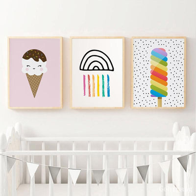 Ice Cream Donut Wall Art Canvas Poster Nursery - Purple Cow Apparel