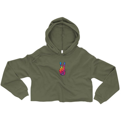 'Peace Collection' Crop Hoodie - Purple Cow Apparel