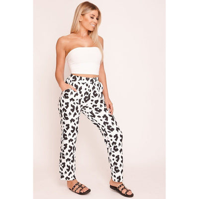 White & Black Cow Straight Leg Trousers - Purple Cow Apparel
