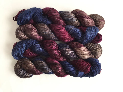 Limited Edition Silk Fingering - Damson & Denim