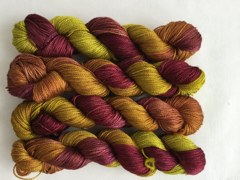 Limited Edition Silk Fingering - Chartreuse and Plum