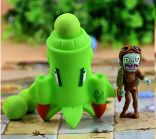 Plant vs Zombies Green Rocket Plant + Zombie Peashooter