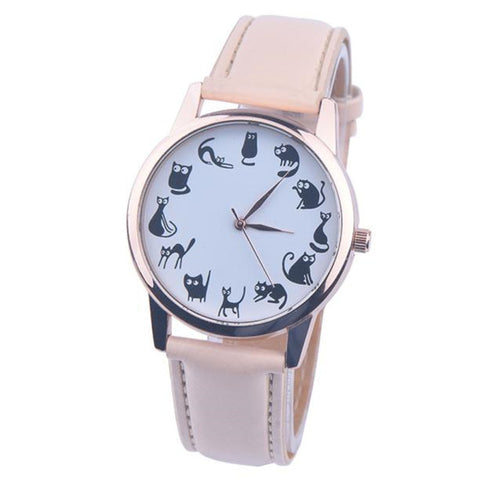 Fashion Casual Watches Women Lovely Cat Leather Sport Quartz Wrist