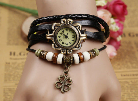 Hot Sales Vintage four-leaf clover pendant Genuine Cow Leather