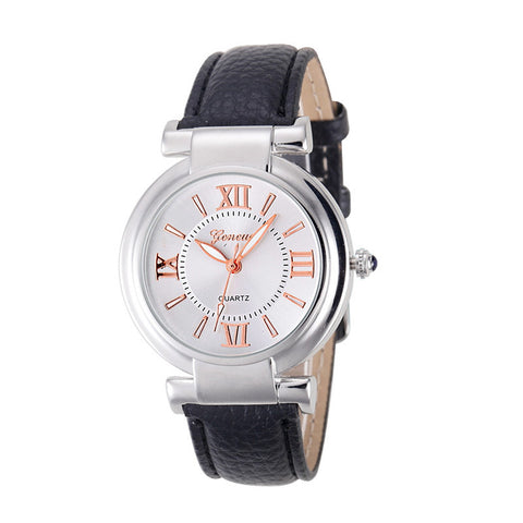 Fashion Quartz Watch Women Girl Roman Numerals Leather