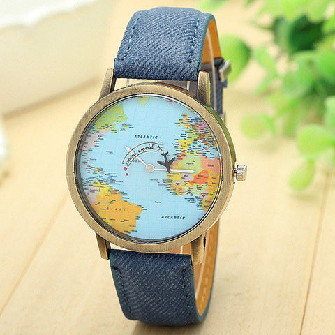 Global Travel By Plane Map Casual Denim