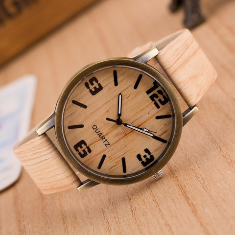 Vintage Wood Grain Watches for Men Women Fashion Quartz Watch Faux Leather Unisex Casual Wristwatch | FREE Shipping