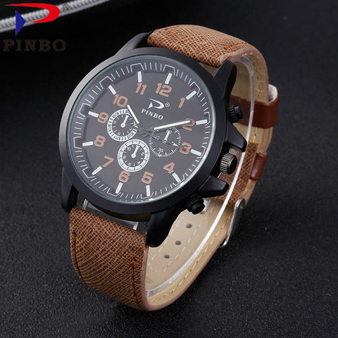 2High-end Fashion Men's Watch Quartz Clock  Leather Military Sport | FREE Shipping