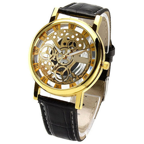 New Hot Men's Women's Roman Numerals Faux Leather Band Skeleton Analog Sports Dress Wrist Watch  | FREE Shipping