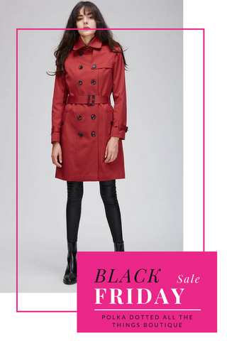 Red Trench Coats look great with polka dots Black Friday Sale at Polka Dotted All The Things