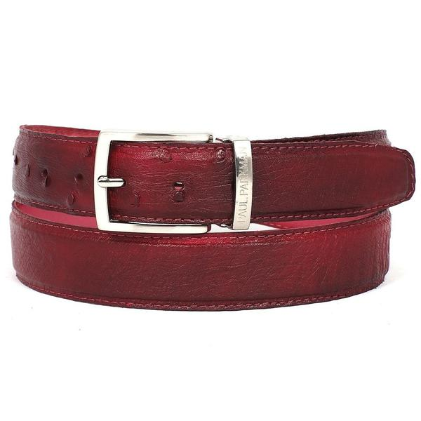 PAUL PARKMAN Men's Burgundy Genuine Ostrich Belt
