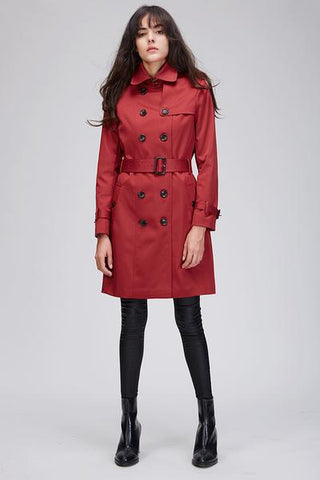 Double Breasted Trench Coat - Red