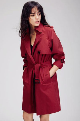Red Trench Coat with Sash