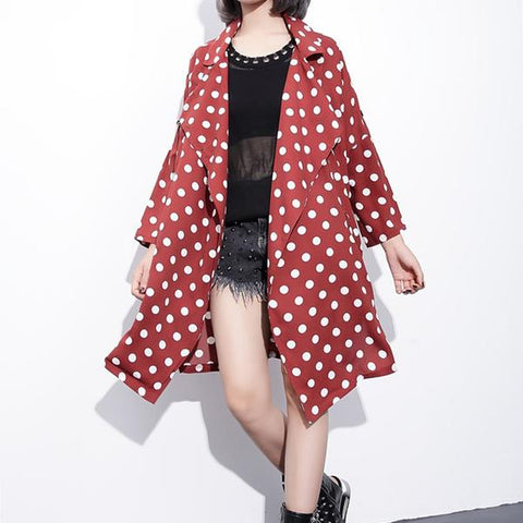 Over Sized Polka Dot Trench Coat - Red