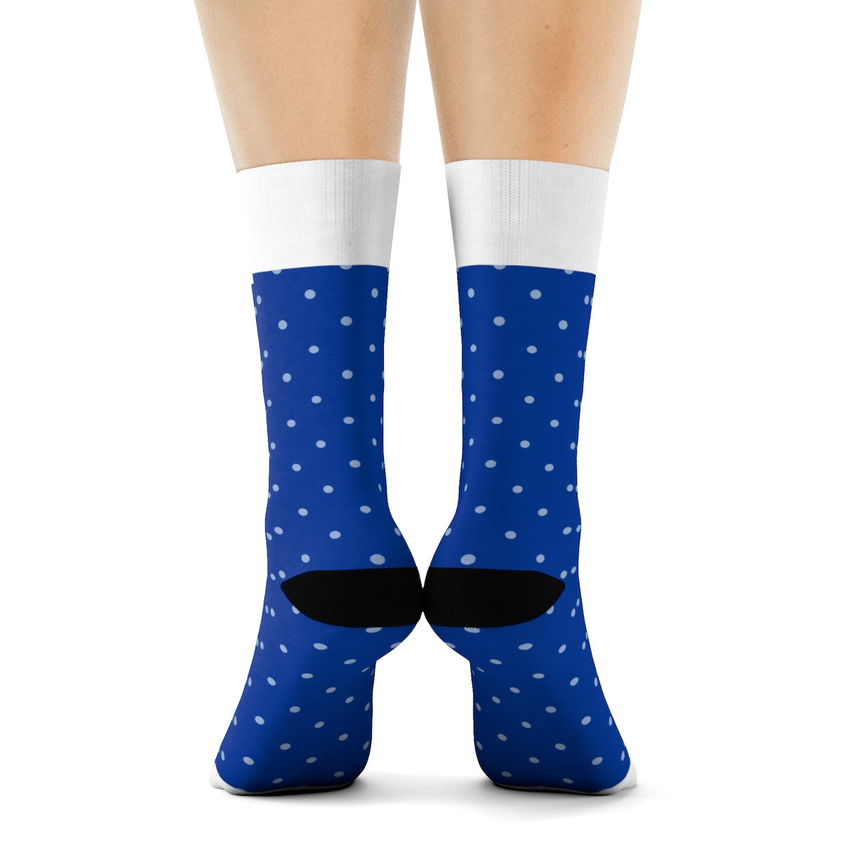 Navy Blue and White Polka Dot Crew Socks All Over Prints - Polka Dotted All The Things Boutique