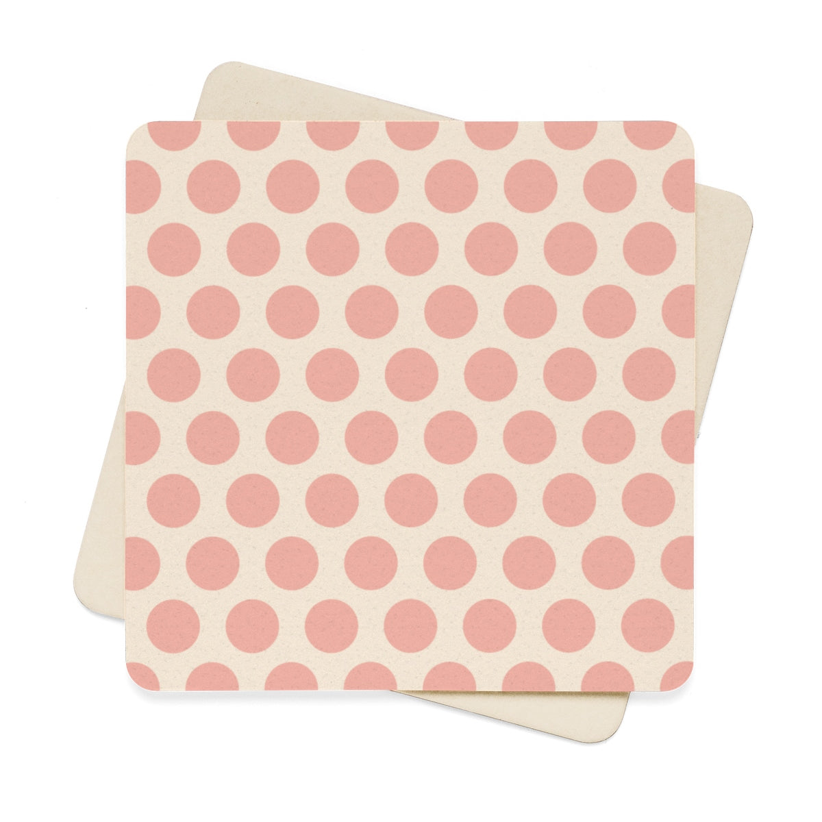 Beige and Pink Polka Dot Square Paper Coaster Set - 6pcs Home Decor - Polka Dotted All The Things Boutique