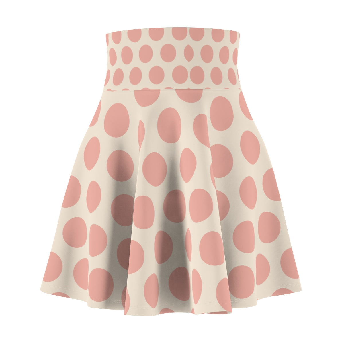 Pink Polka Dot Women's Skater Skirt All Over Prints - Polka Dotted All The Things Boutique