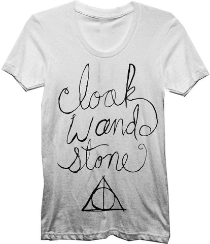 Harry Potter Cloak Wand & Stone T-Shirt - Deathly Hallows: Cloack Of Invisibility Elder Wand & Resurrection Stone - S / White / T-Shirt