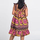 Robes Africaines Moderne Femmes Bazin Ankara Imprimé À Volants Mini Neuf - Angel Effect Shop