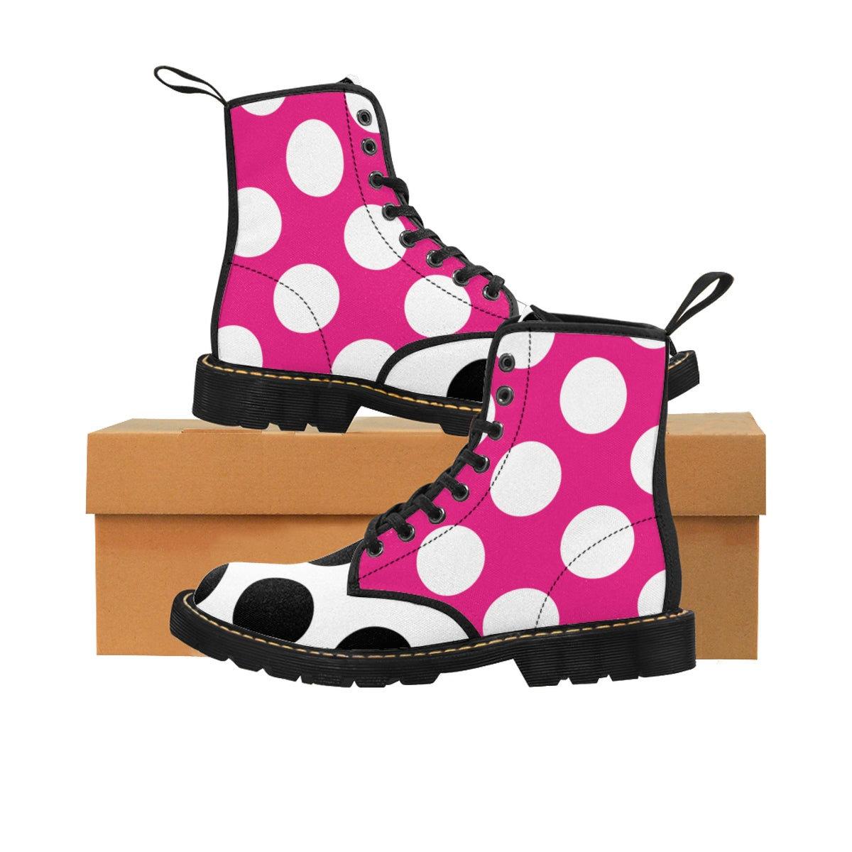 Pink Black and White Polka Dot Kids' Martin Boots Shoes - Polka Dotted All The Things Boutique
