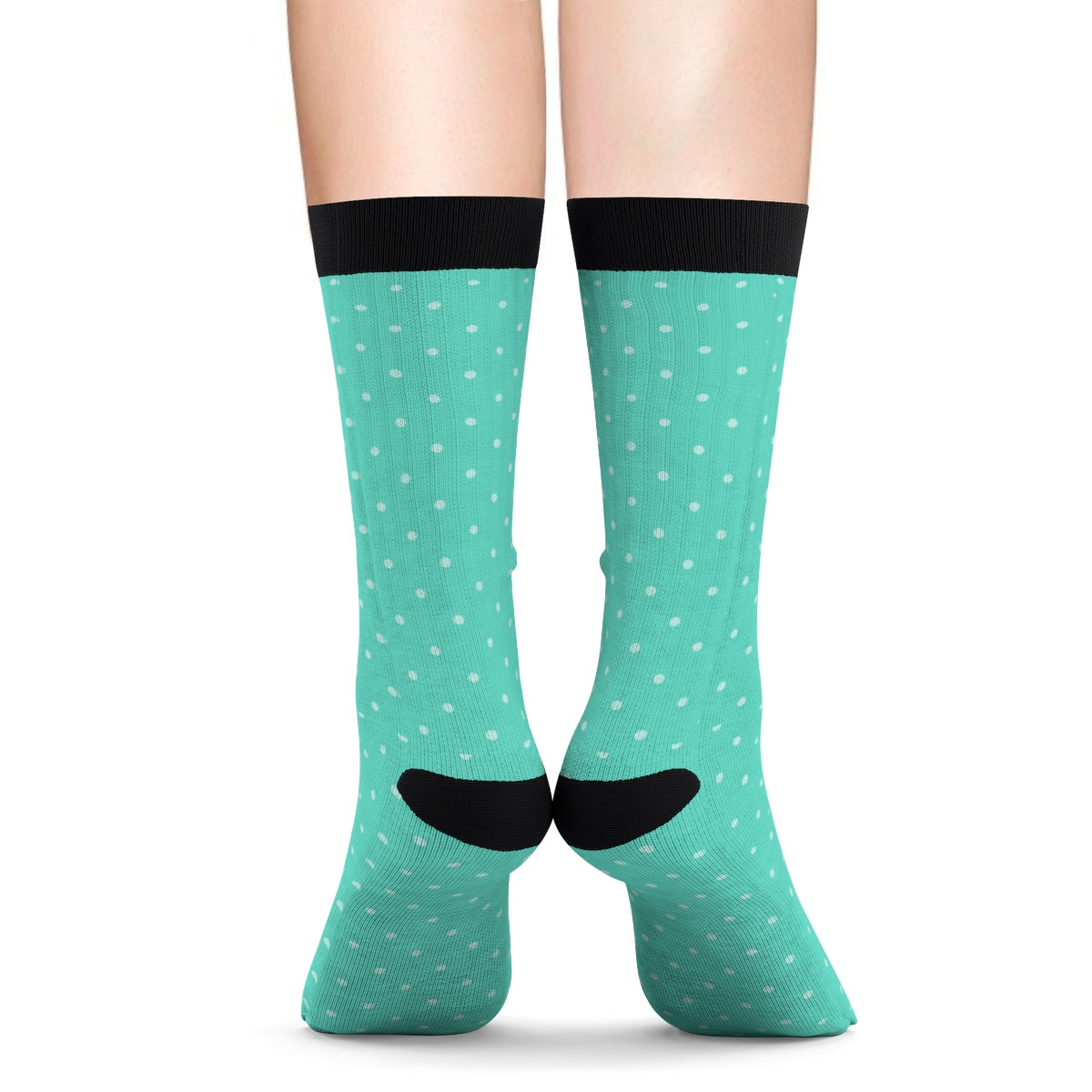 Teal Polka Dot Tube Socks