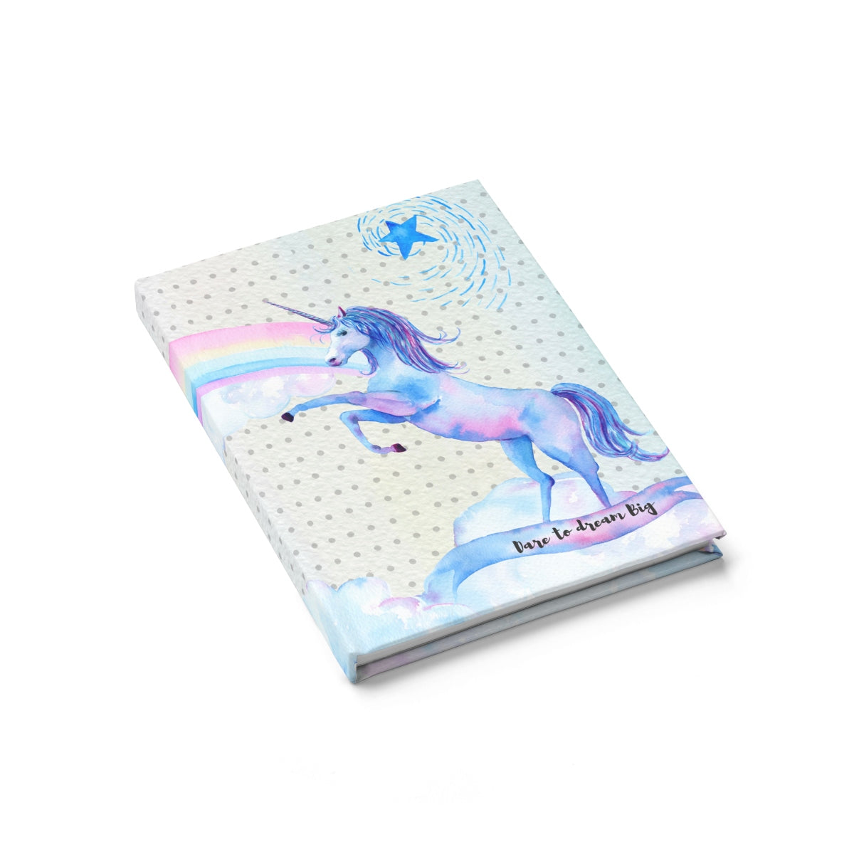 Dare to Dream Big Journal with Watercolor Unicorn and Rainbows- Ruled Line Paper products - Polka Dotted All The Things Boutique