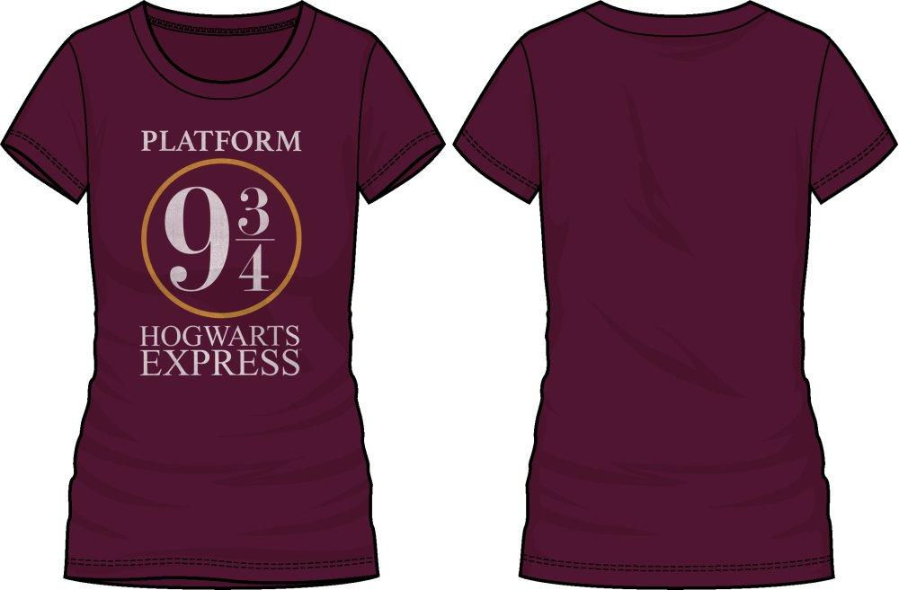 Harry Potter Platform Nine and Three-Quarters 9 3/4 Hogwarts Express Women's Burgundy T-Shirt - Angel Effect Shop